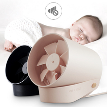 Creative Mini Portable Small Fan Mute Soft Wind Touch Smart USB Double Leafl Fan Silent Adjustable Speed Wall Mounted Ventilador