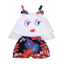 Toddler Infant Kid Baby Girl Summer Clothes Set Sleeveless T Shirt Tops Floral Shorts 2pcs Outfits Casual Clothes