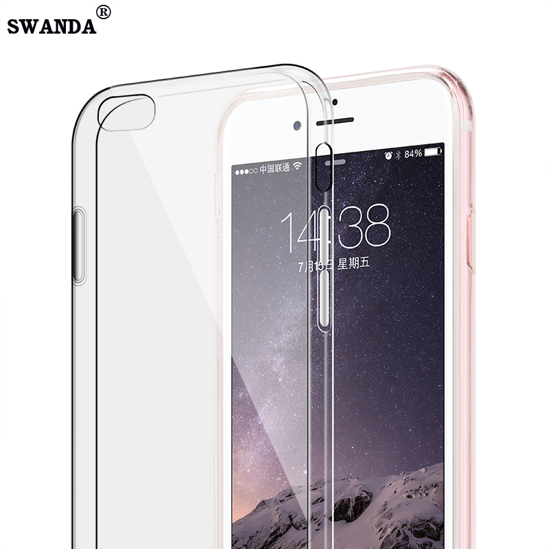 SWANDA iPhone 5 5s 6 6s 6plus 7 7plus phone Case Ultra Thin Transparent Soft Silicone TPU Phone Protective shell Cover