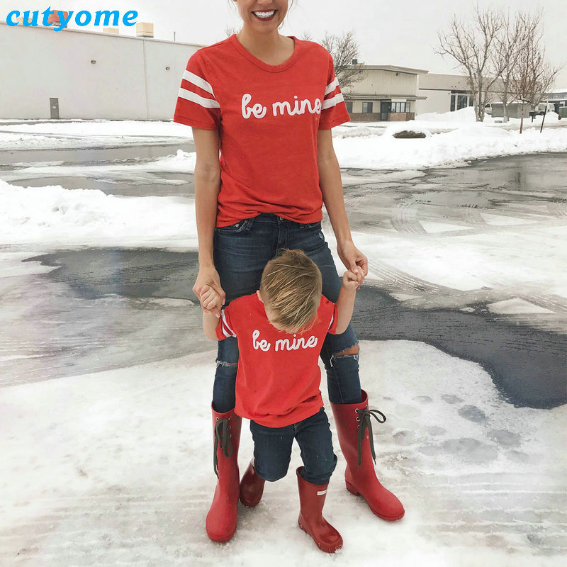 Mother And Daughter Son Clothes Family Matching Clothing BE MINE Short Sleeve T-Shirts Mom Daughter Matching Outfits Tee Shirts (9)
