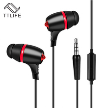 2016 TTLIFE Brand In-ear Earphones 3.5mm Mobile phones Computer Unisex Earbuds Best Sound Powerful Bass With Mic For Ios Android