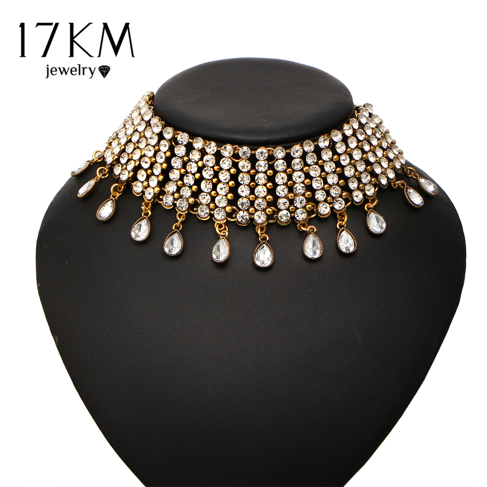 17KM Fashion Water Drop Rhinestone Crystal Choker Necklace Woman 2017 Vintage Tattoo Statement Necklaces Collar Boho Jewelry