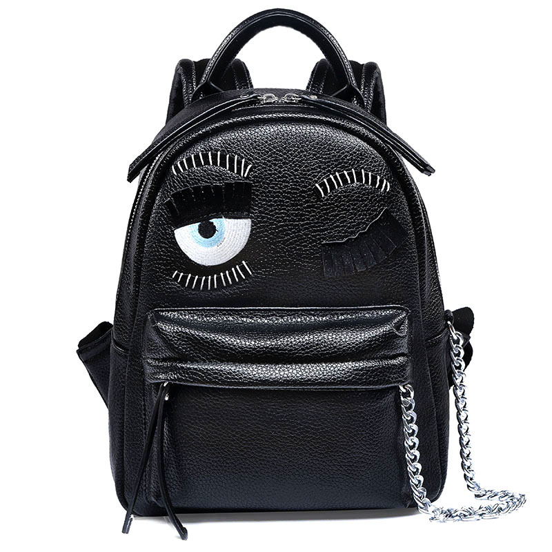 Men and women fashion blink twinkle eyes backpack personalized novelty boys and girls black school bags with metal chain<br><br>Aliexpress