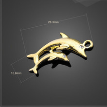 Factory Price 6 Pieces/Lot 28.3mm*10.8mm Antique Gold color metal charm animal charm dolphin carriage charm For Jewelry Making
