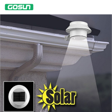Shenzhen manufacturer Outdoor Solar Powered 3 LED Cool White/Warm White Light Fence Gutter Garden Yard Roof  Wall Lamp