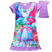 Hot New arrived Purple Cartoon character Trolls four sizes Ruffles Girls dress baby Girl one piece Medium style Children dress(China)