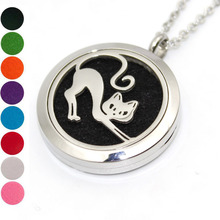 Health Jewelry Cute Cat 316L Stainless Steel Aromatherapy Pendants Necklace For Women Diffuser Locket Necklace