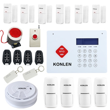 Wireless GSM Home Security Alarm System RFID Burglar Touch Keypad LCD Voice with 433 Wrist SOS Strobe Siren Smoke Detector