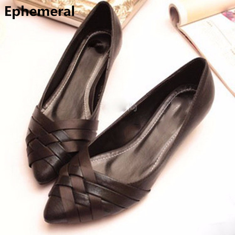 Pointed Single-Shoes Closed-Toe Vintage Summer-Styles Big-Size Cheap Women Fashion Cover-Heels