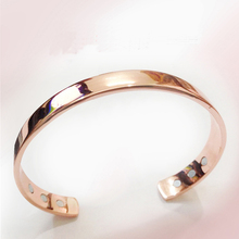 Pure Copper Magnet Energy Health Open Bangle Plated Gold Simple Magnetic Health Bracelet Bio Healthy Healing Copper Bracelet