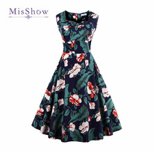MisShow 2017 Hot Sale Audrey Hepburn Style 50s Women's Summer Clothing  Vintage Dresses Plus Size Party Dress
