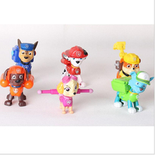 6 PCS A set 2016 Best Selling Child Toys Hand To Do Anime Cartoon Dog Patrol Can Bounce Ideas 6 Paragraph Shield Gifts With X106