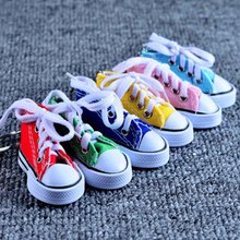 Mini Hi Top Canvas Sneaker Tennis Shoe Keychain Blue Pink Black White Sports Shoes Keyring Doll Funny  Gifts