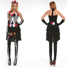 Adult Skeleton Day of The Dead Costume Women's Sexy Sugar Skull Dia Flower Fairy Halloween ghost vampire bride Fancy Dress