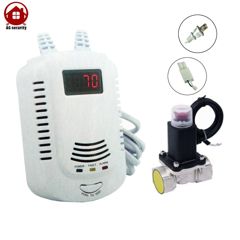 LPG Gas Leak Detector Alarm with Electromagnetic Solenoid Value for Gas Leakage Auto Shut Off AG Security Factory<br>