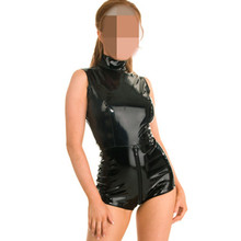 Buy Black Leather Lingerie Sexy Bodysuits Women PVC Erotic Leotard Costumes Latex Teddy Crotchless Bodysuit Leather Catsuit