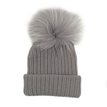 Kids Candy Color Pom Pom Beanie Winter Warm Knitted Bobble Baby Fur Pompom Hat Children Real Raccoon Fur Pompon Winter Hat Cap