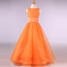 Satin Organza Long Flower Girl Dress Orange 2017 Jewel Neck Mother Daughter Gowns Floor Length Kids Evening Gowns