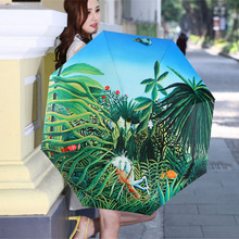 Recommend Novelty Puma Oil Painting Arts Umbrella Rain Women Creative forest Famous Brand Mujer Paraguas Anti-UV Parasol Kids