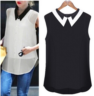 Uk 2017 Summer Brand New Women Cute Sleeveless Tank Tops Chiffon Black White Blouse Shirt Chemise