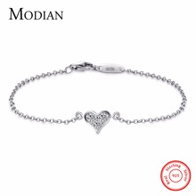 Modian 2017 New Design Real 925 sterling silver Heart CZ Bracelet Fashion Crystal Wedding Lady Classic Romantic Jewelry(China)