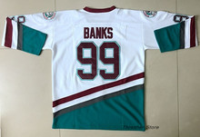 The Mighty Ducks Moive Adam Banks White/Green Stitched Ice Hockey Jerseys Sewn Camisa