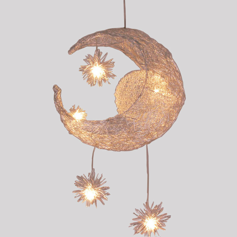 Kid's Room Lighting Modern Fashion Moon&Star Pendant Lights Child Bedroom Lamps Aluminum Chander for Living Room Home Decoration(China)
