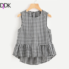 DIDK Buttoned Keyhole Tiered Hem Gingham Shell Top With Ruffle Cute  Plaid Top Women Sleeveless  Blouse