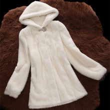6XL Plus Size 2016 Women Winter-clothing Marten Overcoat Medium-long Synthetic Mink Fur Coat with a hood Faux Fur Hooded Jacket