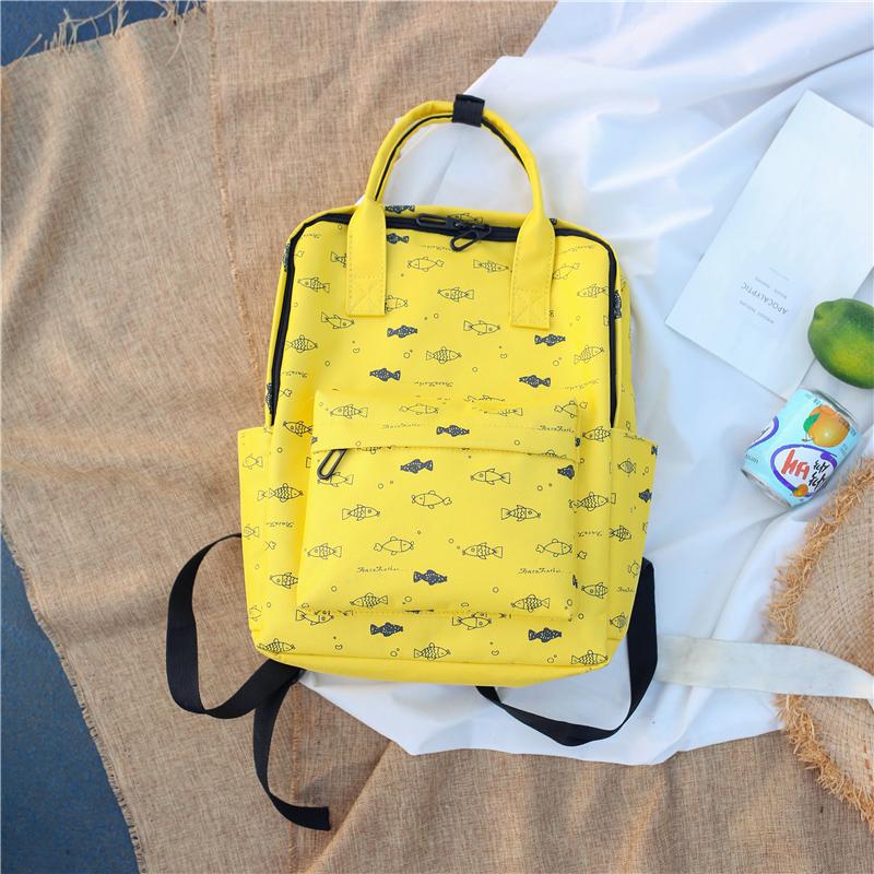 Menghuo Fish Printing Women School Bag Backpack for Teenage Girls Backpacks Female Canvas Children Schoolbag Women Bag s (7)
