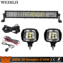WEISIJI 200W Straight Dual-row 5D LED Light Bar+2Pcs 35W Flood Beam LED Work Lights+2Pcs Wiring Kits for Jeep Truck SUV ATV UTV(China)