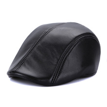 New Sheep Skin Beret Cap Female Genuine Leather Cap Adult Peaked Cap Elderly Man Winter Leisure Hat Manufacturers B-7143(China)