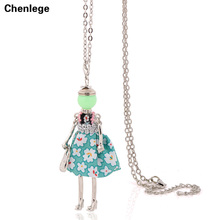 women doll vintage necklace jewelry long necklace chain pendant big choker dress accessory doll girl antique silver-color hot