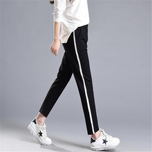 Summer New Fashion Casual Pants Female White Striped Patchwork Slim Skinny Harem Pants Women Loose Soft Black Pantalon Femme 2XL