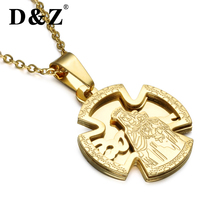 D&Z Virgin Mary Love Cross Pendant Necklace Stainless Steel Double Layers Guadalupe Pendant Necklace For Christian Jewelry(China)