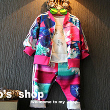 children clothing sets boy&girl's jacket+pants kids' flower sports suit vetement enfant girls clothing sets vetement garcon