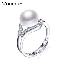 Top Selling High Quality 100% Real Freshwater Pearls Jewelry Wedding Ring For Women Luxury Brand Jewelry Fine Gift With Box R001(China)
