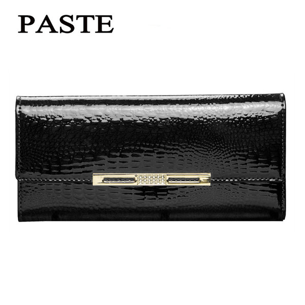 PAST Fashion Brand luxury lacquered leather wallet leather wallet ladies long section crocodile pattern cowhide wallet Coin Purs<br>