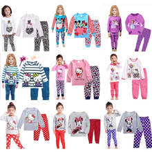 Children Clothing Sets Girls Clothing Sets Baby boy's pajamas suits sleepwear Minions/kitty/pajamas cotton set shirts+trousers