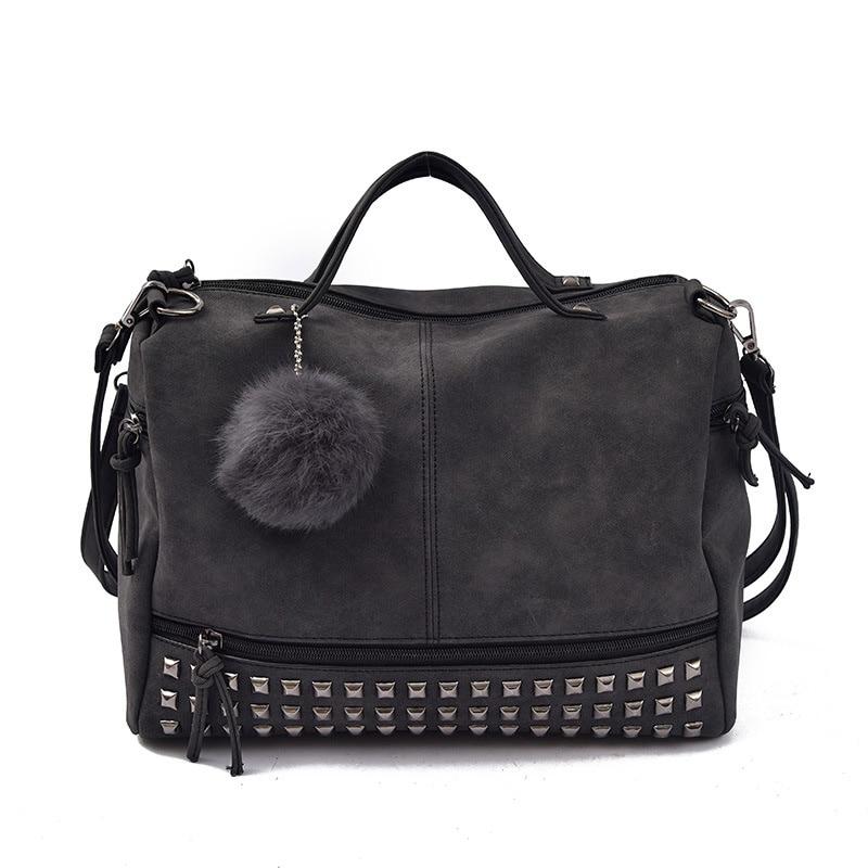 Fur Ball Woman Bags Top-Handle Female Designer Boston Shoulder Large Bag Vintage Famous Brand Handbags Women Handbag Rivet<br>