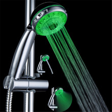 54pcs/lot Green color LED WATER BATHROOM SHOWER HEAD 6-18 LEDS ABS HAND SHOWER(China)