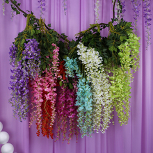 12 pcs 110cm Silk Wisteria Garland Artificial Wisteria Flower Garlands voilet home and wedding artificial flower decoration