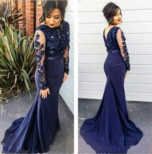 ANTI Real Pictures Navy Blue 2016 Evening Dress Long Sleeves Arabic Muslim Formal Gowns For Wedding Party Celebrity Guest Dress