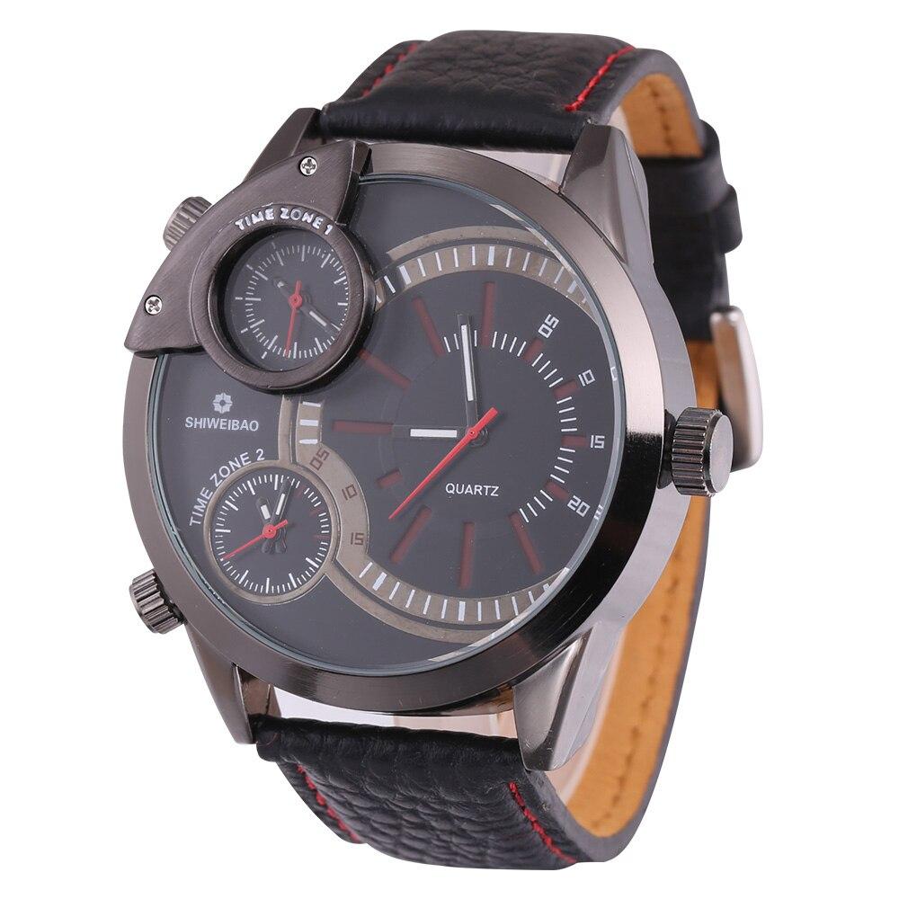 top luxury brand shiweibao three time zones watches for men analog quartz men watch black strap big case wristwatches clock man free shipping wholesale (3)