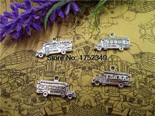 45pcs--School Bus Charms Antique Tibetan Bronze Tone Two Side School Bus Pendants/Charms 23x13mm