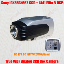 "1/3"" Sony 663 960H CCD Effio-V 4141 True WDR DSP 750TVL 800TVL Analog CCTV Box Camera OSD Dual Voltage DC 12V AC 24V Body Camera"