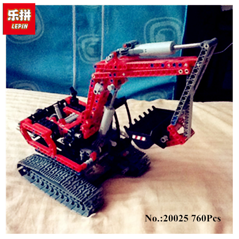 IN STOCK Lepin 20025 760Pcs Genuine Technic Series The Red Excavator Set Children Building Blocks Bricks Boys Educational Toys<br>