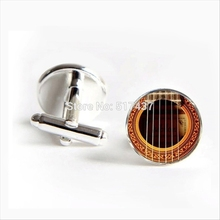 2017 Free Shipping Acoustic Guitar Cufflinks Guitar Cuff Link Musical Instrument Vintage Cufflinks For Mens