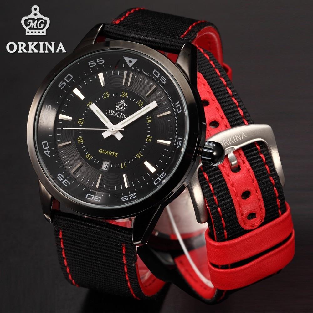 Orkina Black Sports Watch Man 2016 Fashion Analog Quartz-watch Sport Auto Date Red Nylon Strap Clock Male Wrist Watches For Men<br><br>Aliexpress