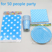 165pc\lot Baby Shower Kids Favors Decoration Plates Blue Polka Dots Tablecloth Paper Cups Birthday Party Napkins Dishes Supplies